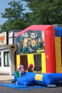 The minions themed bouncy house was rarely vacant during the celebration!