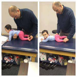 Dr. Joe assisting one of our youngest patients, at 7 months, with her DNS exercises